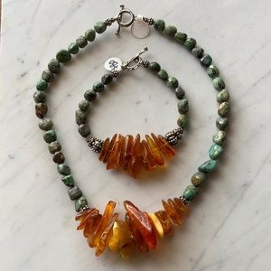 Amber Necklace & Bracelet Set w/ Sterling Silver